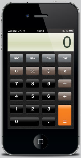 The Calculator app on an iPhone