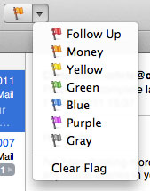 The flags popup menu on Mail's toolbar, showing new, custom names