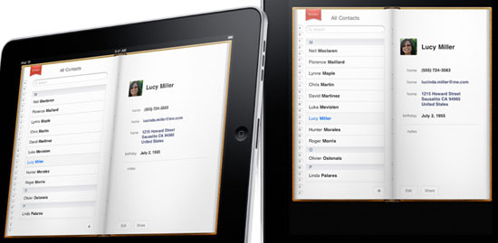 The Contacts app, showing a hard-bound address book with a fabric bookmark.