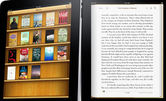 The iBooks app, showing wooden bookshelves and printed paper.