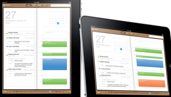 The Calendar app, showing wood-backed hard-bound day planner.