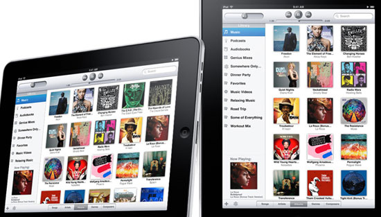 The iPod app, showing CD album covers laid out in a grid.