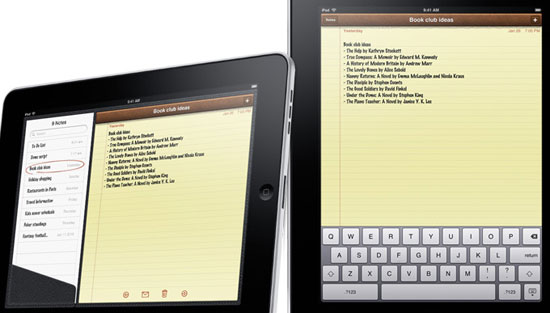 The Notes app, showing a yellow legal pad in a leather case.