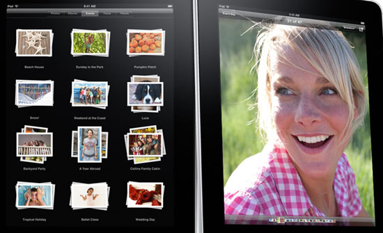 The Photos app, showing stacks of photos and a light-box view of a single image.