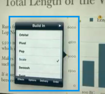Keynote for iPad, showing an animations list attached to a bar-chart.