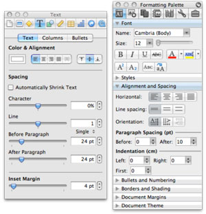 Inspector palettes for Keynote and Microsoft Word on the Mac, each showing many controls.