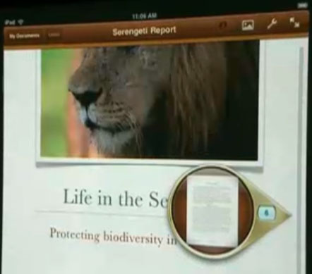 Pages for iPad; document viewing with loupe.