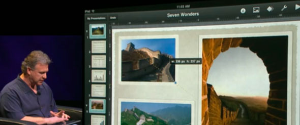 Phil Schiller using Keynote for iPad, showing two-handed input features.