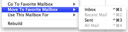The 'Move To Favorite Mailbox' menu in Mail