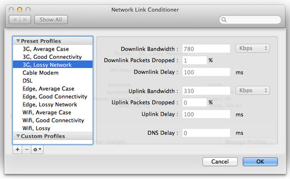 Editing the list of profiles in Network Link Conditioner