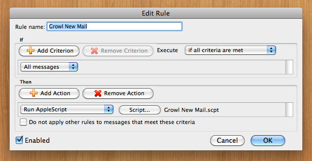 Outlook rule for Growl