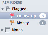The Flagged smart mailboxes in Mail's sidebar, showing new, custom names