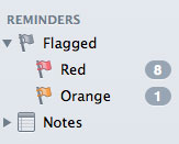 The Flagged smart mailboxes in Mail's sidebar, showing default colour names