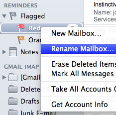 The contextual menu for a flag mailbox, showing the Rename Mailbox command