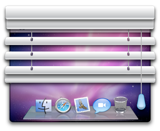 Large version of the Shady application icon - a set of metal blinds partially covering a Mac desktop