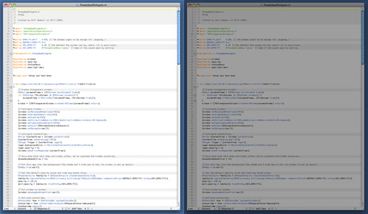 Screenshot showing a window full of text, both with and without Shady active.