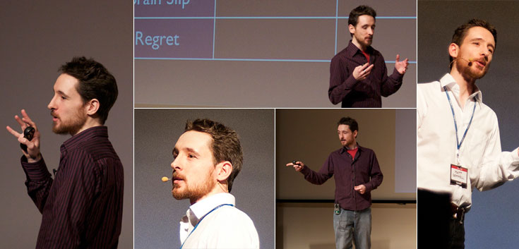Collage of photos of Matt speaking at events
