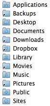 List of folders in home folder on solid state drive, showing the following ones as links to the hard drive: Backups, Downloads, Dropbox, Movies and Pictures.