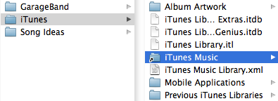 Contents of the Music folder, showing that the 'iTunes Music' folder (sometimes also called 'iTunes Media') within the iTunes folder is a link to a folder on the hard drive